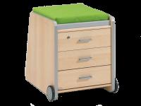 Paidi Schoolworld Falko Container 3S in Ecru oder Ahorn-Nachbildung optional mit Sitzpolster in vielen Farben wählbar