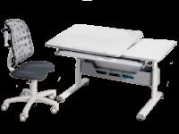 Paidi Schoolworld Diego 130 GT Schreibtisch mit Drehstuhl Sino Schreibtisch in weiß Drehstuhl Bezug in Grau mit Muster