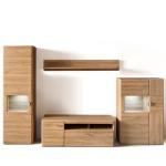 MCA Furniture Florenz Wohnkombination 1 für Ihr Wohnzimmer 4-teilige Wohnwand mit Vitrine Lowboard Highboard und Wandboard Kombination in Grandson Oak Nachbildung Beleuchtung wählbar