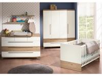 Paidi Remo Babyzimmer 3 teilig Babybett Kommode mit Wickelaufsatz in Bordeaux-Eiche-Nachbildung/Kreideweiß
