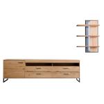 MCA Furniture Portland Wohnkombination 3 für Ihr Wohnzimmer 2-teilige Wohnwand im industrial Look mit Lowboard und Wandboard Kombination in Asteiche bianco teilmassiv mit Fronten aus Massivholz und mit Absetzungen in Anthrazit lackiert