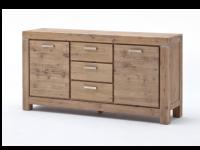 Euro Diffusion VICTORIA Sideboard aus Akazie Massivholz in den Farbausführungen sand oder braun Oberfläche XXX geölt und gekälkt mit 2 Holztüren und 3 Schubkästen