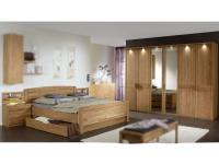 Wiemann Münster Schlafzimmer Set 4-teilig in Eiche teilmassiv bestehend aus Drehtürenschrank 6-türig, Kompaktbett und 2 Nachtkonsolen