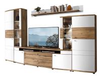Wohn-Concept Terra Plus 4-teilige Wohnkombination 40 40 RW 80 für Ihr Wohnzimmer mit zwei Aufsatz-Vitrinen einem TV-Unterteil und einem Wandboard Wohnwand inkl. LED-Beleuchtung Ausführung Weiß matt / Eiche Altholz Nachbildung
