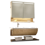 Voglauer V-Quell Badezimmer-Einrichtung Badkombination mit Waschtischunterschrank und Möbelwaschtisch Korpus und Front Alteiche rustiko echtholzfurniert