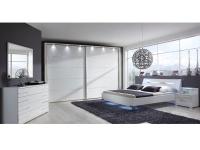 Wiemann Hollywood 4 Schlafzimmer-Set 4-teilig bestehend aus Schwebetürenschrank Bett und 2 Nachtschränken mit Paneel inkl. Beleuchtung