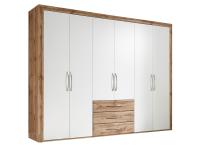 Schlafkontor Rondell Drehtürenschrank 6- türig mit 3 Schubladen Korpus und Schubkästen Wildeiche Nachbildung Türen Weiß Nachbildung