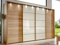 Wiemann Toledo Schwebetürenschrank teilmassiv mit Glas-Teilfront in Magnolie Schrank-Breite wählbar