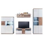 MCA Furniture Luzern LUZ93W11 Wohnkombination 11 für Ihr Wohnzimmer 4-teilige Wohnwand Hochglanz weiß tiefzieh Nachbildung mit Absetzung Sterling Oak