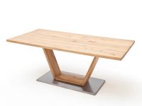 MCA furniture Greta Esstisch mit V-Fußgestell fester Tischplatte in Balkeneiche Massivholz geölt gerader Tischkante in verschiedenene Größen wählbar