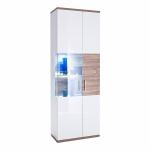 MCA Furniture Luzern LUZ93T11 Vitrine R für Ihr Wohnzimmer Hochglanz weiß tiefzieh Nachbildung mit Absetzung Sterling Oak