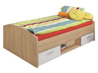 FORTE Jugendbett Winnie Art.Nr. WNL09 Liegefläche ca. 90 x 200 cm inklusive 2 Schubkästen in Sonoma Eiche Nachbildung kombiniert mit Weiß Bett für Ihr Kinderzimmer oder Jugendzimmer