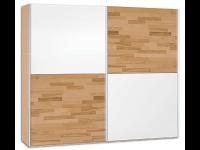 Neue Modular Primolar Venezia 2-türiger Schwebetürenschrank ca. 250 cm breit Korpus Holznachbildung Buche mit Teilfront Glas weiß und Kernbuche furniert optioonal mit Dämpfer