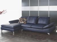 Schillig Willi Enjoy 15270 Ecksofa bestehend aus Longchair links und Sofa mit Sitztiefenverstellung rechts Bezug Leder LK30 Z59_29 blau Sofa mit Seitenteilverstellung und glänzenden Metallfüßen