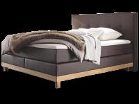 Hasena Pronto Boxspringbett Bella Kunstleder braun Holzausführung Eiche bianco bestehend aus Box Obermatratze Polsterkopfteil Bettfüße und Topper Base-Top Liegefläche ca. 180x200 cm