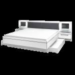 Schlafkontor Turin Bettanlage inkl. 2 Nachtkommoden und Glaspaneel mit LED Beleuchtung Liegefläche ca. 180 x 200 cm Rahmenausführung in Weiß Nachbildung mit grauen Absetzungen Kopfteil gepolstert mit Kunstleder