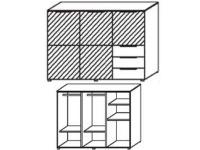Schrank-Kommode mit 3 Türen in Front Farbspiegel oder Farbglas und 3 Schubkästen rechts unten in Korpusfarbe