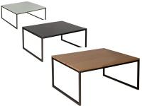 Vierhaus Couchtisch Varianta 2706 Größe ca.70x70 cm mit Gestell aus Stahl Schwarz, Tischplatte-Ausführung und Rollensatz wählbar