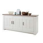 MCA Furniture La Palma LAP06T01 Sideboard für Ihr Wohnzimmer Kiefer Massiv gebürstet weiß lackiert