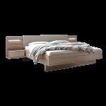 Schlafkontor Lissabon Bett mit einer Liegefläche von ca. 180 x 200 cm inkl. Polsterkopfteil mit Kunstlederbezug in Champagner Nachbildung Bettrahmen Eiche Sanremo hell Nachbildung