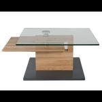 Vierhaus Couchtisch 7889-WEI Wildeiche Massivholz Bodenplatte MDF mit Schliffoptik perlsilberfarbig mit Rollen