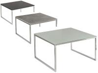 Vierhaus Couchtisch Varianta 2705 Größe ca.70x70 cm mit Gestell aus Stahl in Chrom, Tischplatte-Ausführung und Rollensatz wählbar