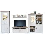 MCA Furniture La Palma LAP06W02 Wohnkombination 2 für Ihr Wohnzimmer 4-teilige Wohnwand Kiefer Massiv gebürstet weiß lackiert