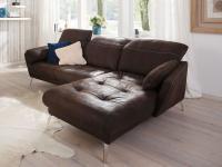 Schillig Willi Softy Plus 12311 Solano Ecksofa bestehend aus 2 Sitzer Sofa links und Longchair rechts inklusive Seitenteilkissen und Kopfstützenverstellung Metallfuß chromglänzend Bezug wählbar