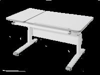 Paidi Schoolworld Diego 130 GT Schreibtisch höhenverstellbar geteilte Platte Gestell in weiß und Tischplatte in kreideweiß