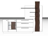 Gwinner Lucca zweiteilige Sideboardkombination LC23 oder spiegelseitig LC23-SV Wohnwand mit massivem Akzent für Wohnzimmer Beleuchtung, Akzent- und Farbausführung wählbar