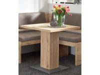 Niehoff Esstisch 1613 mit fester Platte Säulengestell Tisch für Esszimmer Küche oder Wohnzimmer mit Bodenplatte in Edelstahloptik Dekorausführung wählbar