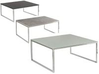 Vierhaus Couchtisch Varianta 2707 Größe ca.100x70 cm mit Gestell aus Stahl in Chrom, Tischplatte-Ausführung und Rollensatz wählbar