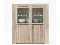 Bodahl Big Time Highboard 10029 rustic oak Massivholz Kommode für Wohnzimmer oder Esszimmer und sieben Ausführungen und mit Beleuchtung wählbar