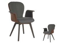 Blake WOOD 635C Komfort mit Bi-Color-Mattenpolsterung von Bert Plantagie Stuhl mit Armlehnen für Esszimmer Esszimmerstuhl Gestellausführung und Bezug wählbar
