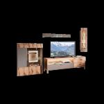 Schröder Kitzalm-Living Kombination K080 vierteilige Wohnkombination in Salzkammergut Alteiche furniert Wohnwand in vier Akzenten und mit Beleuchtung wählbar