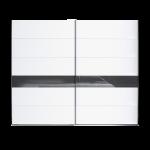 Schlafkontor Turin Schwebetürenschrank 2-türig Korpus in Weiß Nachbildung Türen in Weiß Nachbidlung mit Absetzungen in Glas Anthrazit