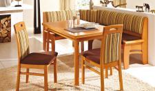 Dkk Klose Kollektion E19 Eckbankgruppe 4-tlg. mit Schaumstoffpolsterung in zwei Holzausführungen bestehend aus Eckbank mit Truhe, Tisch und zwei Stühlen Bezug wählbar