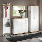 Voss Möbel Burgos Garderoben Set 3 4-teilig für Eingangsbereich mit großem Schuhschrank Wildeiche Echtholz furniert Hochglanz weiß lackiert