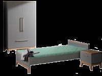 Paidi Sten Kinderzimmer 3 teilig bestehend aus Liege 2-türiger Kleiderschrank mit 1 Schubkasten und Nachtkommode optional mit Highboard
