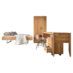 Skalik Meble Mido Jugendzimmer Bett Kleiderschrank Schreibtisch Rollcontainer Front und Korpus Eiche Massivholz Natur geölt