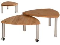 Vierhaus GlobalHome Couchtisch 4317 -WEIX mit zusätzlicher ausdrehbarer Tischplatte aus Massivholz in Wildeiche auf Rollen