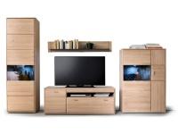 Wohnkombination MCA Furniture Tarragona Wohnwand TAR11W01 Kombination 1 Ausführung Eiche Bianco teilmassiv Metallgriffe für Wohnzimmer