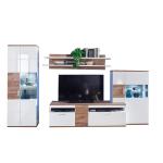 MCA Furniture Luzern LUZ93W02 Wohnkombination 2 für Ihr Wohnzimmer 4-teilige Wohnwand Hochglanz weiß tiefzieh Nachbildung mit Absetzung Sterling Oak