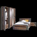 Forte Clif Jugendzimmer Bett mit Unterbettschubkasten Nachtkommode Regal Kleiderschrank Korpus Old Wood Vintage kombiniert mit Betonoptik Dunkelgrau
