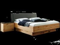 Wöstmann WSM 1400 Bettanlagemit Europäische Astkernbuche Massivholz mit Bett mit Polsterkopfteil und Bettschubkasten-2er-Set inklusive 2 Konsolen mit Mattglas-Abdeckung siena Liegeflächa ca. 180 x 200 cm
