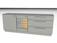 Gwinner Lucca zweiteilige Sideboard LC21 oder spiegelseitig LC21-SV Kommode mit massivem Akzent für Wohnzimmer Beleuchtung, Akzent- und Farbausführung wählbar
