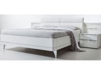 Nolte Möbel Bahia Doppelbett 2 mit Füßen in chrom, Polster-Rückenlehne in Kunstleder inkl. 2 Nachtschränken mit je 2 Schubkästen