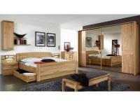 Wiemann Münster Schlafzimmer Set 4-teilig in Eiche teilmassiv bestehend Schwebetürenschrank 2-türig, Kompaktbett und 2 Nachtschränken