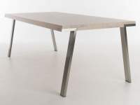 Esstisch Seven von Bert Plantagie Tisch für Esszimmer ca 180 cm x 100 cm Eiche astig mit Öl Bianco Gestell Edelstahl ***AM LAGER*** für Ihr modernes Wohnzimmer oder Esszimmer