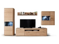 Tarragona Wohnkombination MCA Furniture Wohnwand TAR11W02 Kombination 2 Ausführung Eiche Bianco teilmassiv Metallgriffe für Wohnzimmer